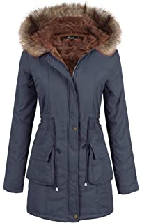 c28ea0a3dbb4 iClosam Women Parka Winter Long Coat Faux Fur Lined Anroak Jacket with Hood