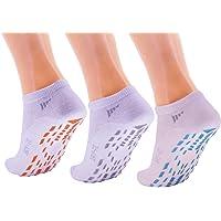 Idealtex México (Pack 3 Pares) Calcetines Antideslizantes/Antiderrapantes Ideales para Yoga, Jumping Parks, hospitales, o Uso Seguro sin Zapatos en el hogar, Blancos