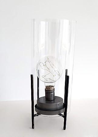 takestop® - Lámpara LED de Cristal y Metal para Mesa, diseño ...