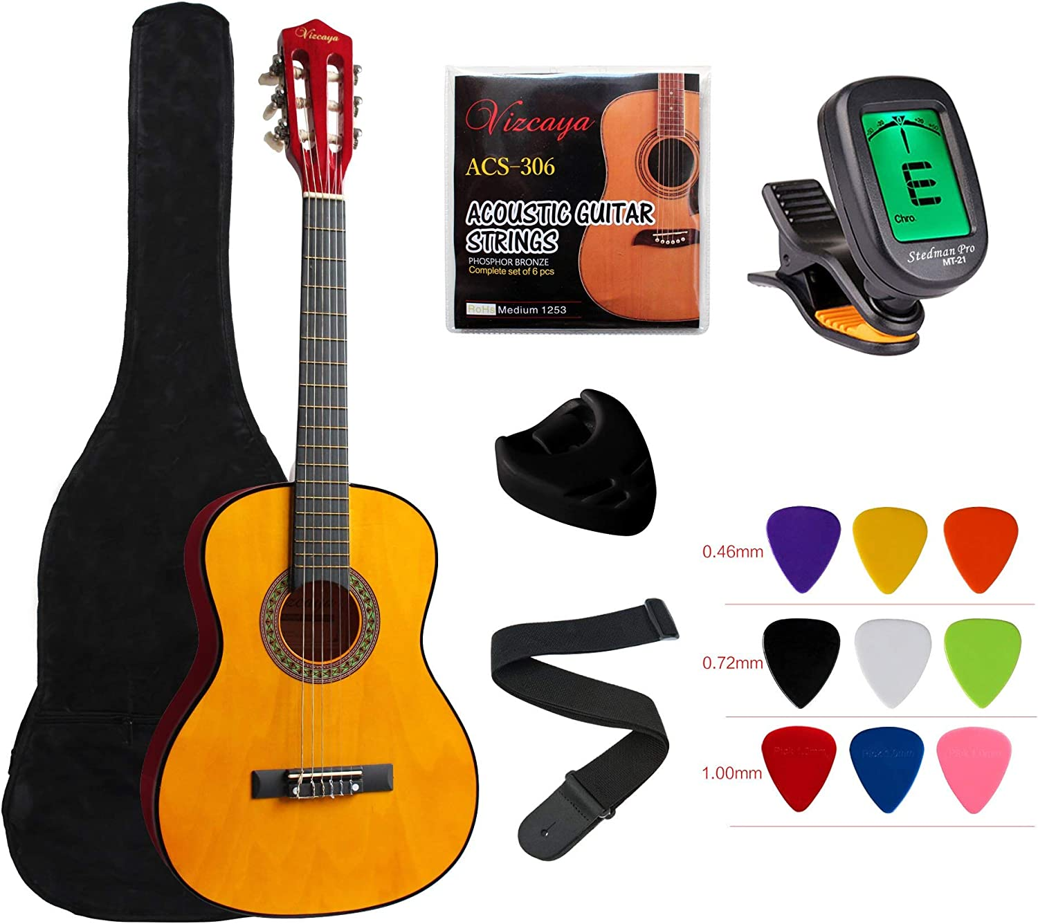 """Electronic Tuner for Students Adults-Blue Vizcaya Kids Beginner 31/"""" Classical Acoustic Guitar 1//4 Size Nylon Strings Classical Guitar With Gig Bag Extra Strings Strap Pick Holder Picks"""