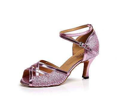 JSHOE Damen Tanzschuhe Latin Salsa/Tango/Tee/Samba/Modern/Jazz Schuhe Sandalen High HeelsPink-heeled8.5cm-UK6...