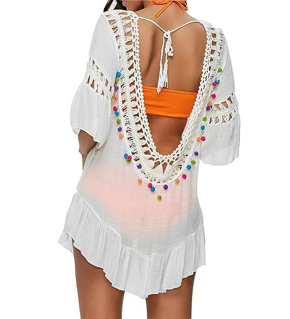 Yying Vestido Mujer Playa Bikini Cover Up Camisa Larga ...