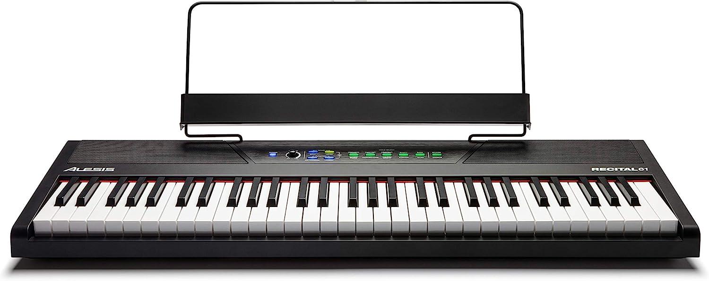 Alesis Recital 61 - Teclado de piano digital eléctrico de 61 teclas semipesadas de tamaño completo, fuente de alimentación, altavoces integrados y 10 voces premium