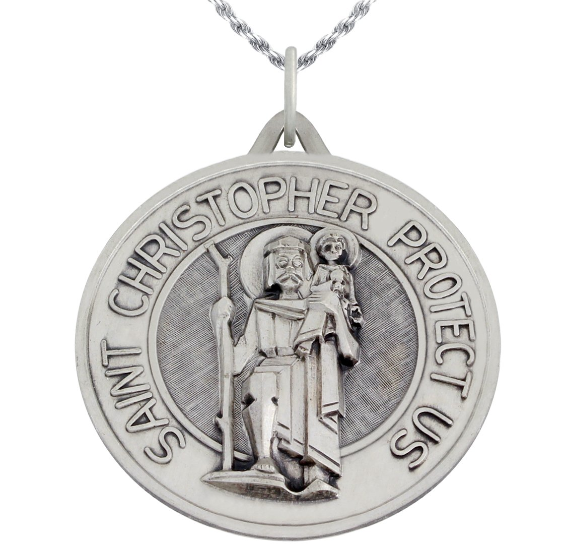 1 3/8in Round 0.925 Sterling Silver St Saint Christopher Medal Pendant 3.0mm Figaro Necklace, 18''