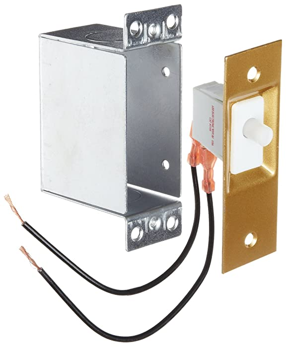 "Morris Products Hands-Free Lighting Door Switch – For Closets, Dark Rooms, Walk-Ins – Push Button, Cover Plate, Mounting Hardware, Metal Box – AC/DC SPST 6"" Wire Leads – 1.25"" x 2.75"" x 2"""