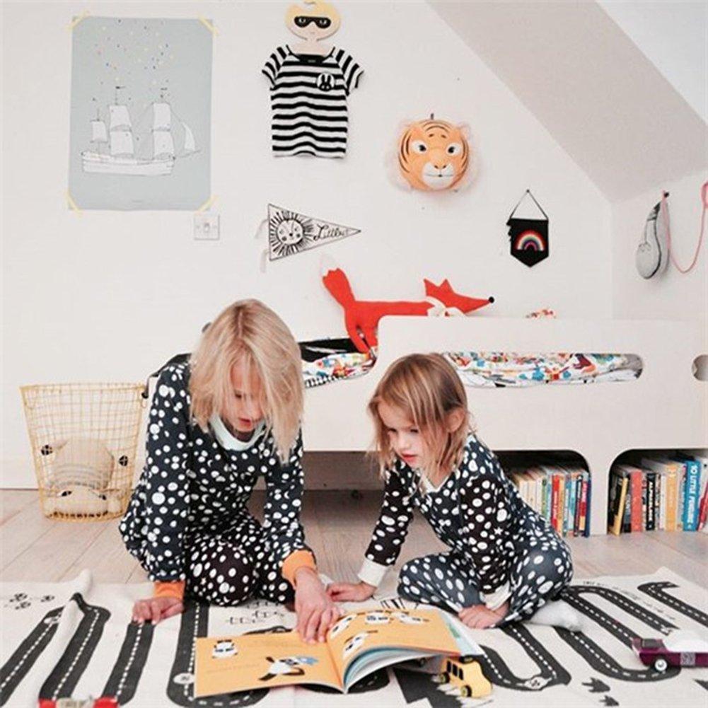 kuuboo Kids Play Mat Bebé gatear alfombra antideslizante (se puede lavar a máquina alfombra bebé Juego Infantil (aventura alfombra coche pista de gateo. Habitación de los niños decoración lienzo alfombra (180* 70cm)