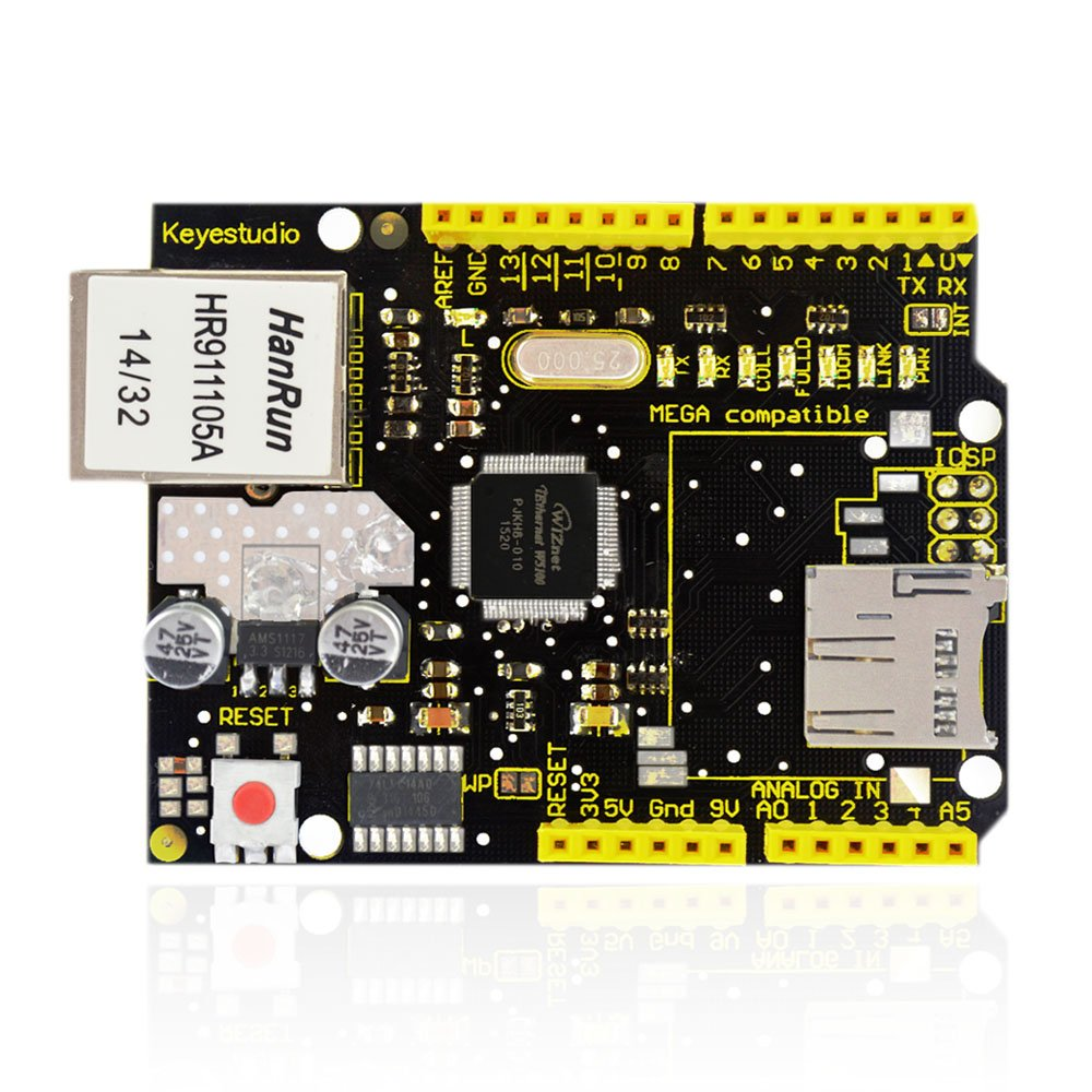 KEYESTUDIO W5100 Ethernet Shield for Arduino Mega 2560 UNO R3 Duemilanove, Easily Connects Arduino to Internet by KEYESTUDIO