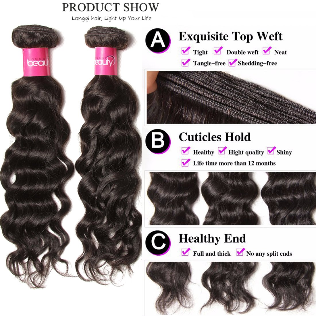 Longqi 7a Unprocessed Virgin Hair Brazilian Natural Wave Bundles Pack of 3 Cheap Wavy Human Hair Bundles Deal (18 20 22inch, Natural Color) by Dinoce (Image #3)