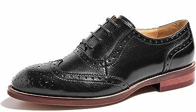345af9a278 U-lite Black Perforated Lace-up Wingtip Leather Flat Oxfords Vintage Oxford  Shoes Women