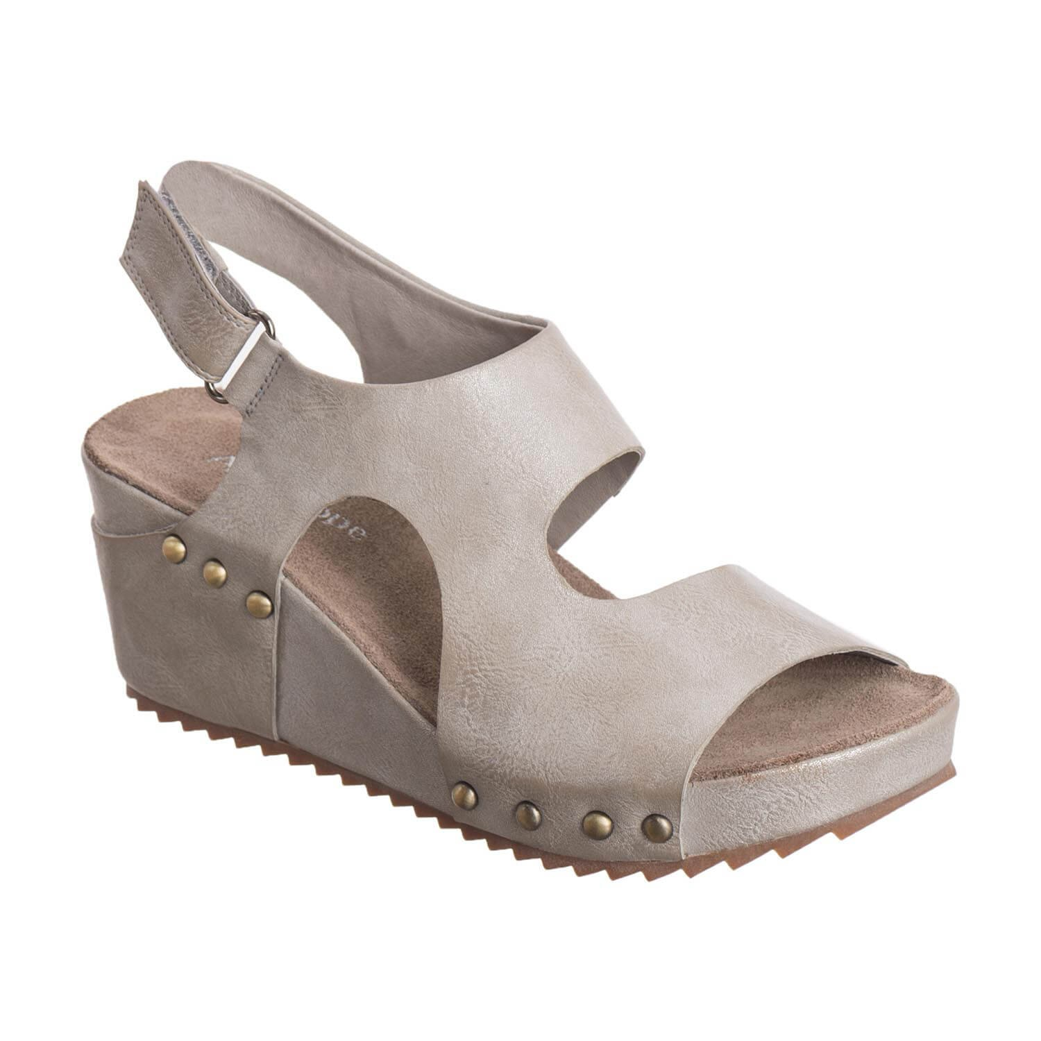 Antelope Women's 537 Metallic Leather Side Cut Wedge B079G2YM4Z 6 B(M) US / 37 EU|Grey