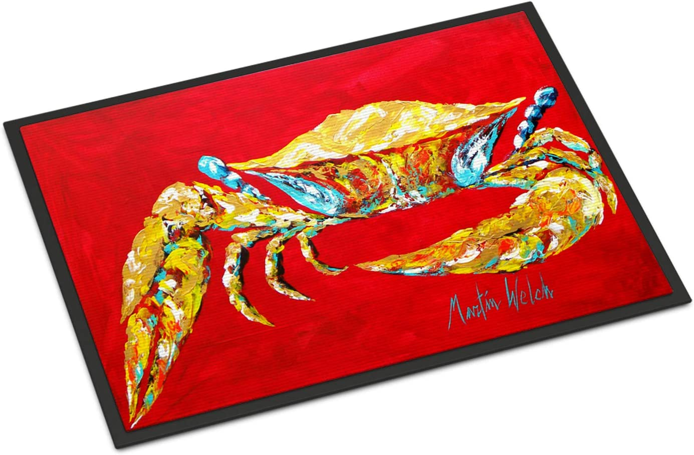 Caroline s Treasures MW1116JMAT Crab Blue on Red, Sr. Indoor or Outdoor Mat 24×36 Doormat, 24H X 36W, Multicolor