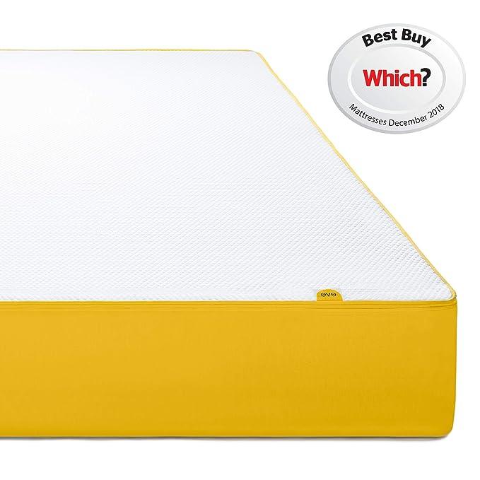 Colchón de EVA, Espuma con Efecto Memoria, White and Yellow, Doble (135 x 190 cm): Amazon.es: Hogar