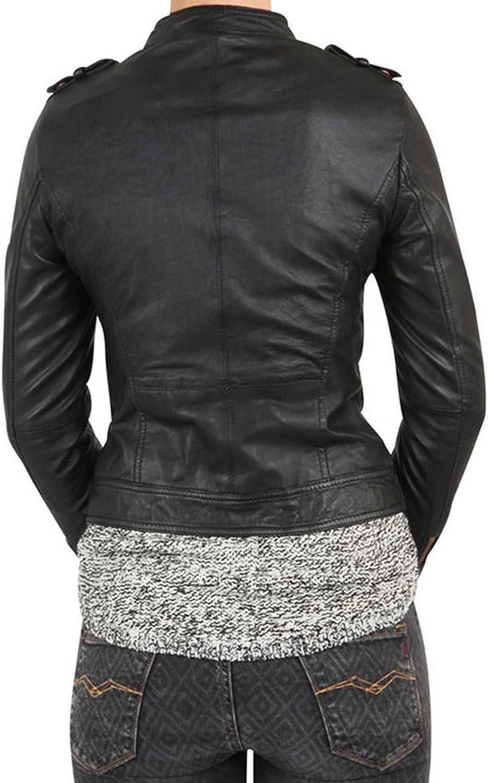 Kingdom Leather New Women Motorcycle Lambskin Leather Jacket Coat Size XS S M L XL XW570