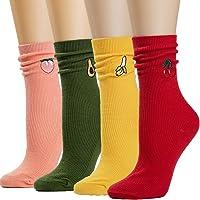 Losa Kute 4/5 Pairs Womens Crew Socks Women Casual Nolvety Funny Long Cute Socks