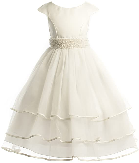 Amazon.com: White or Ivory Beaded Waist Holiday Communion Flower Girl Pageant Long Dress: Clothing