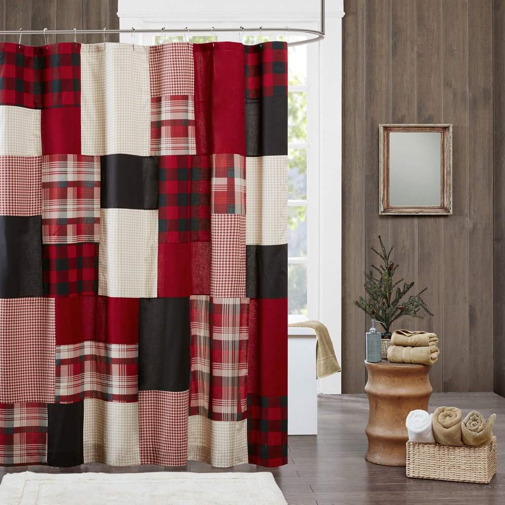Woolrich Sunset Cotton Shower Curtain, Plaid Lodge/Cabin Shower Curtains for Bathroom, 72 X 72, Red
