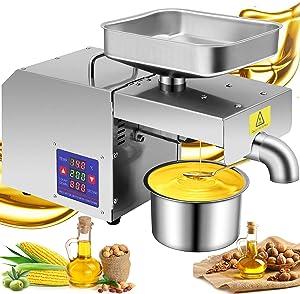 Cuilvu Commercial Oil Press Machine Home Automatic Oil Extractor Organic for Avocado Coconut Castor Flax Peanut Canola Sesame Sunflower