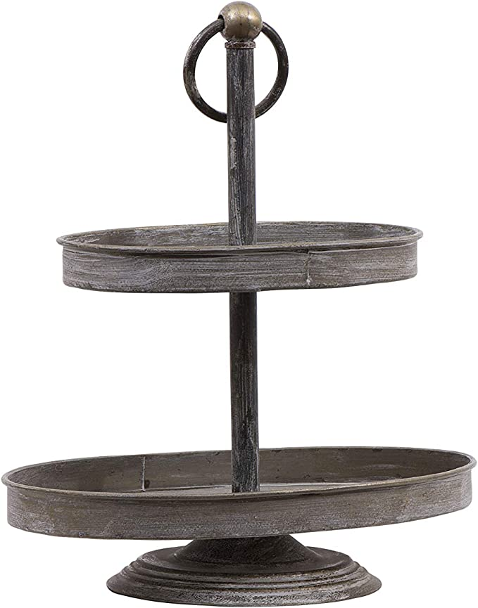 Creative Co-op Decorative Metal Oval Two Tier Tray with Zinc Finish