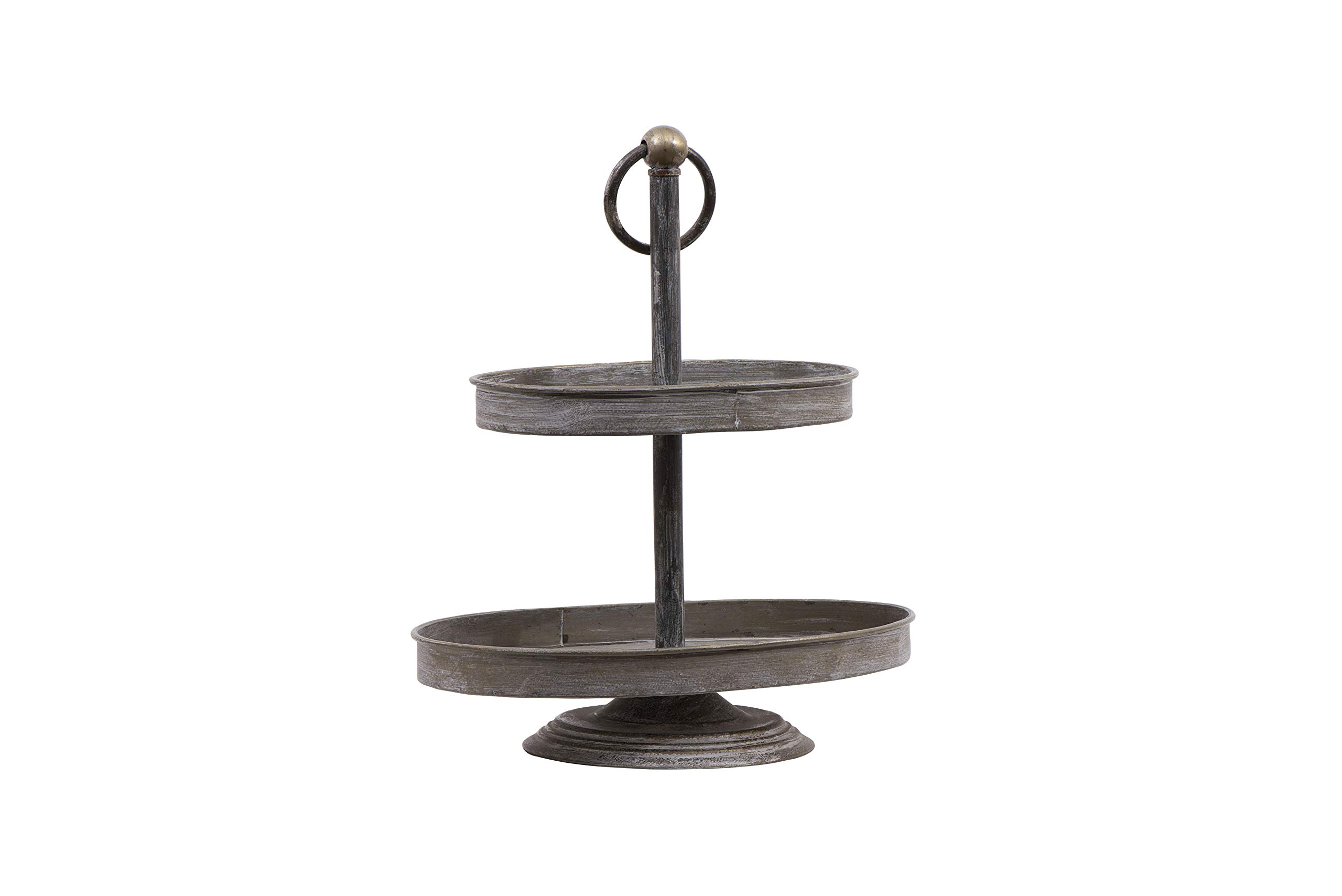 Creative Co-op Decorative Metal Oval Two Tier Tray with Zinc Finish by Creative Co-op