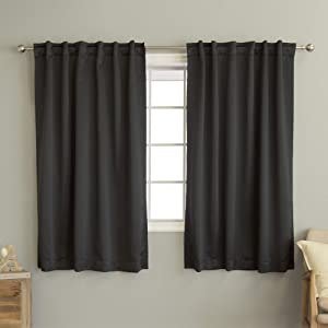 """Best Home Fashion Premium Blackout Curtain Panels - Solid Thermal Insulated Window Treatment Blackout Drapes for Bedroom - Back Tab & Rod Pocket – Black - 52"""" W x 63"""" L - (Set of 2 Panels)"""