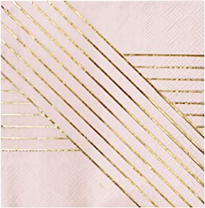 Harlow & Grey Amethyst Pale Pink with Gold Striped Cocktail Paper Napkins, Pack of 20 - Birthday, Wedding, Showers Party Napkins