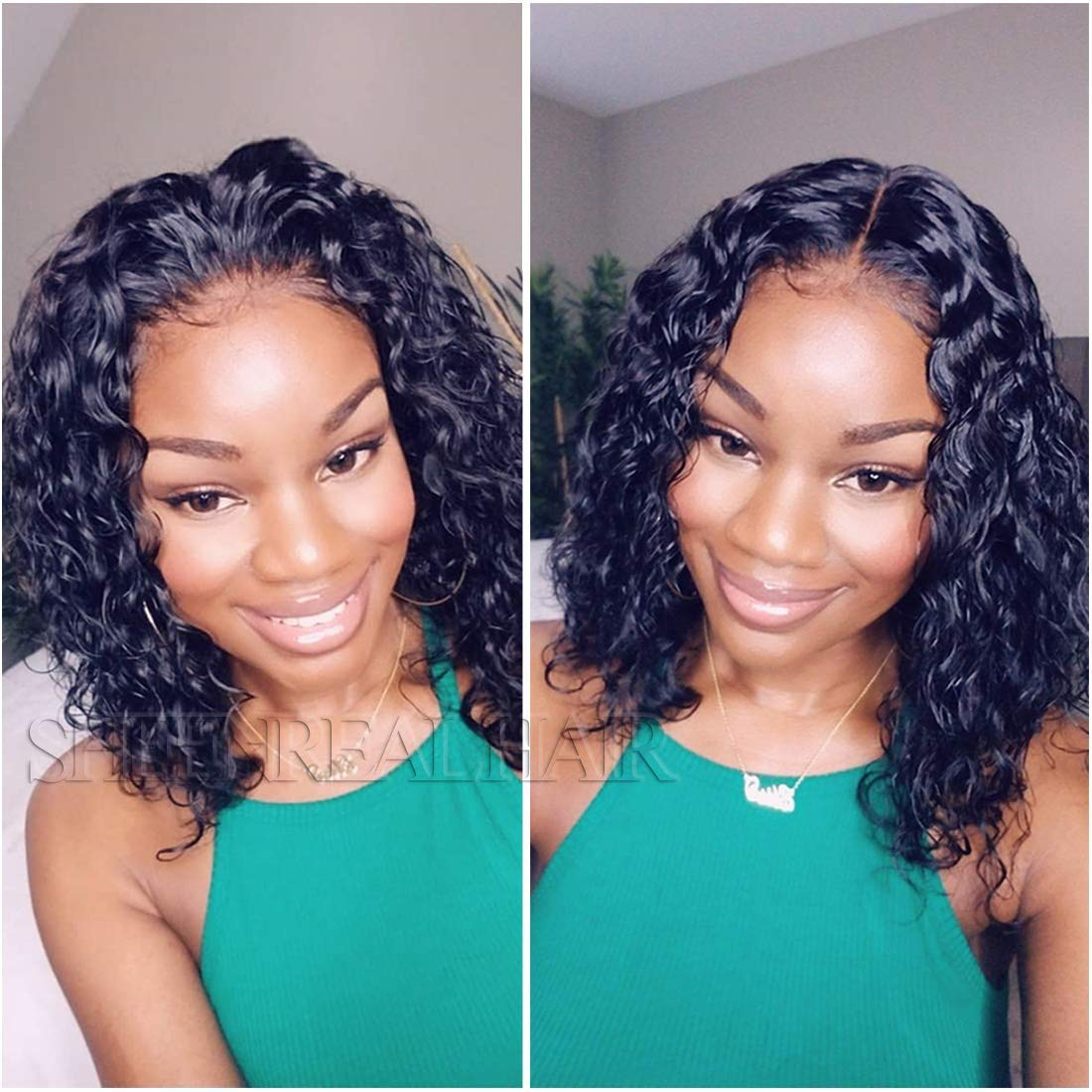 Amazon Com Curly Human Hair Lace Front Wigs Bob Style Brazilian Virgin Human Hair Wigs Pre Plucked With Baby Hair Glueless Lace Wig For Women 14 Inch Beauty