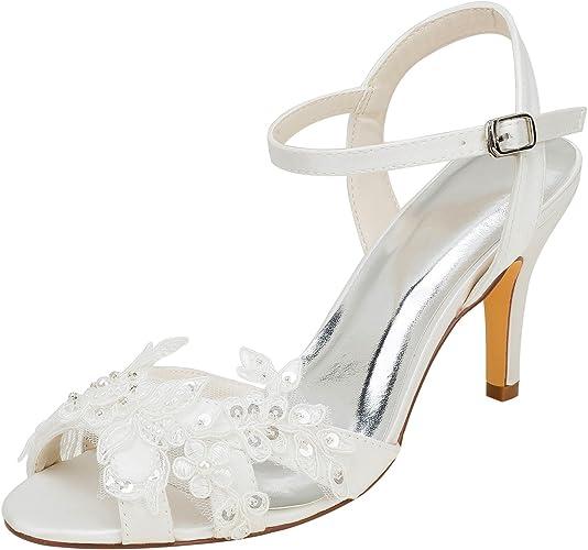 Scarpe Sandalo Sposa.Emily Bridal Scarpe Da Sposa Sandali Peep Toe In Raso Con Tacco A