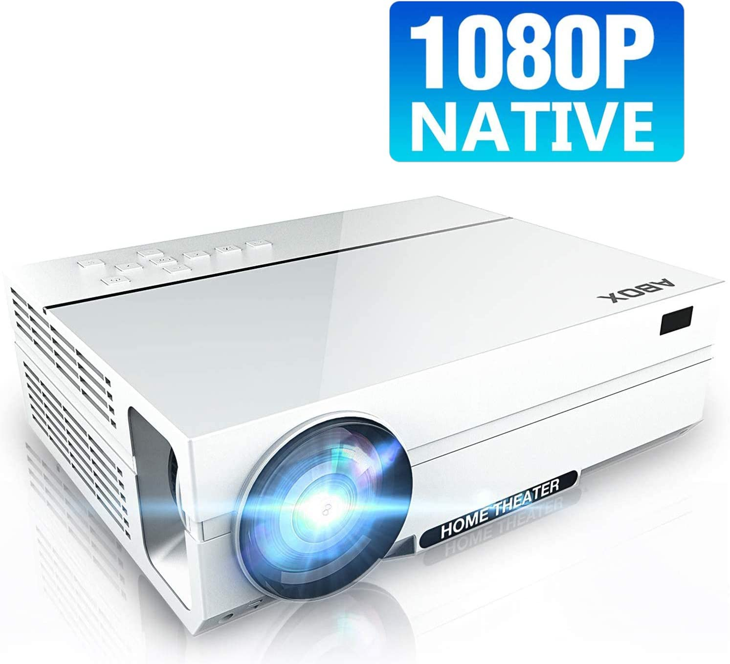 Bomaker Projector Native 1080p Home Theatre, Full HD Support 1080p Video Projector, Upgraded 5000 Lux, 50000 Hrs, 2X HiFi Speakers,for Android/ iOS / Laptops/ PCs/ Windows 10