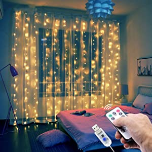 300 LED Curtain String Lights, 8 Modes Plug in Fairy String Light with Remote Control, USB Powered, for Wedding Party Home Garden Bedroom Christmas New Year Decoration 9.8 x 9.8ft (Warm White)