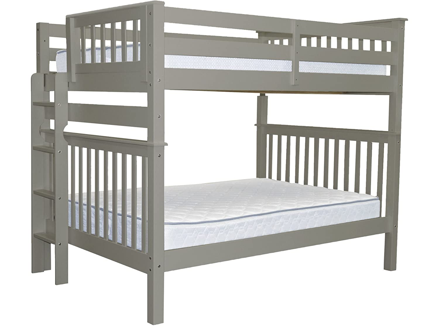 Bedz King Bunk Beds Full over Full Mission Style with End Ladder, Gray