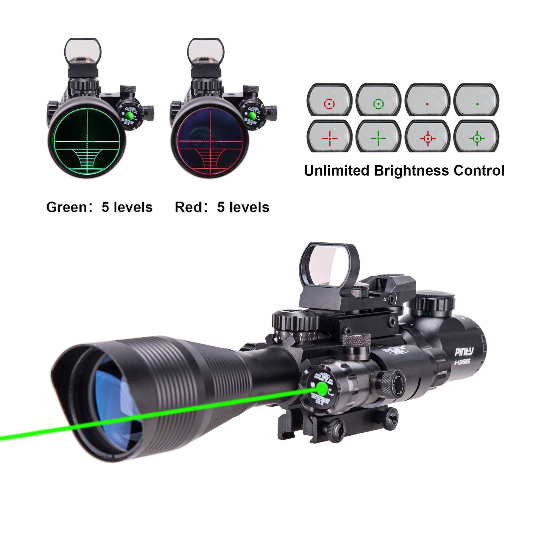 Pinty Rifle Scope 4-12x50 Rangefinder Illuminated Optics with 4 Reticle Red Green Reflex Sight, Green Dot Laser Sight by Pinty