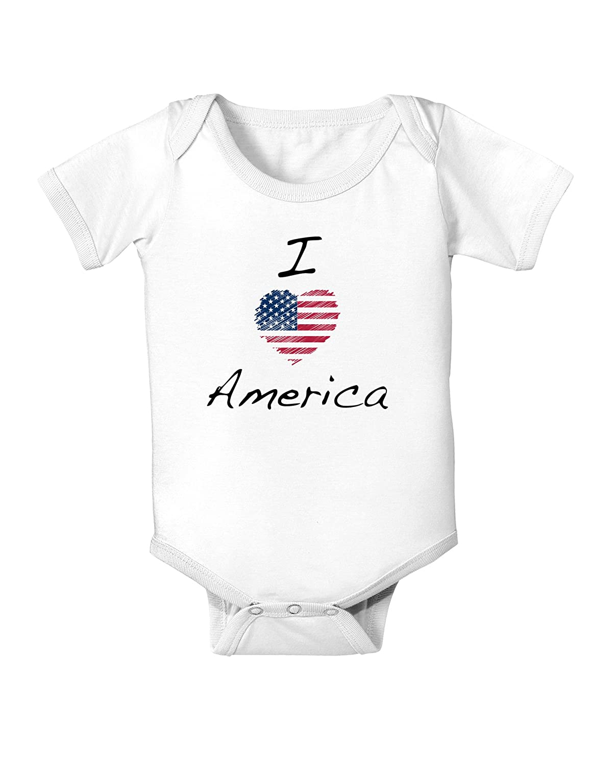 12 Months White TooLoud I Heart America Scribble Infant One Piece Bodysuit