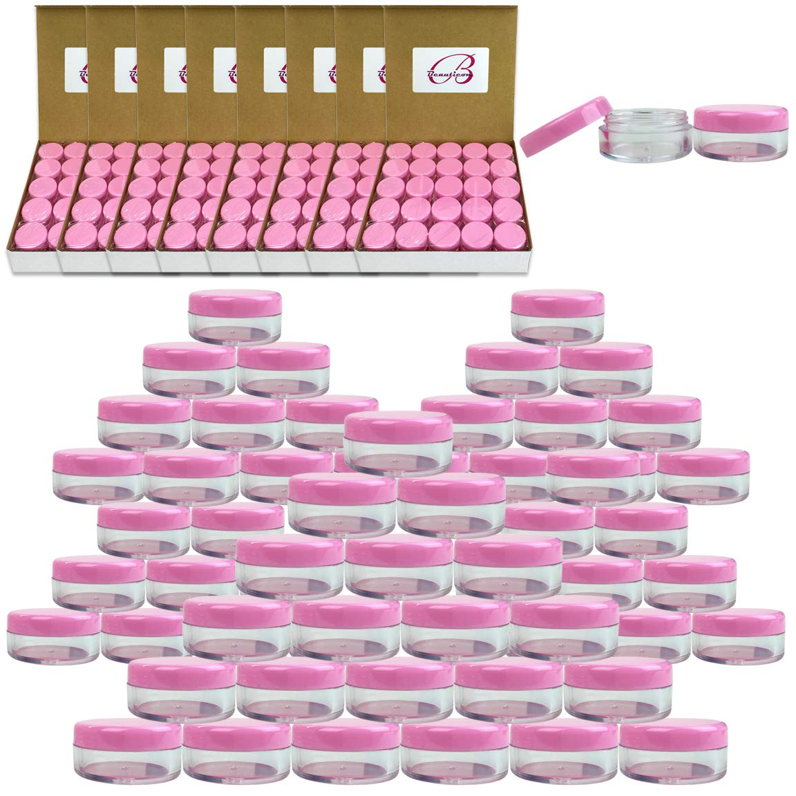 (Quantity: 1000 Pcs) Beauticom 5G/5ML Round Clear Jars with Pink Lids for Small Jewelry, Holding/Mixing Paints, Art Accessories and Other Craft Supplies - BPA Free