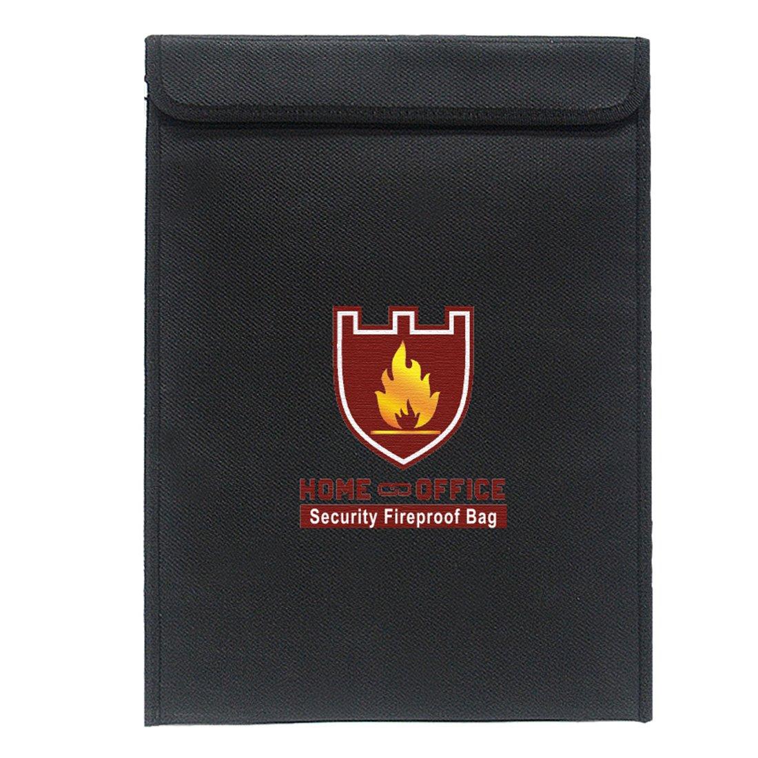 Mecotech - Cartella portadocumenti ignifuga, impermeabile, resiste a 1000 gradi, resistente al fuoco, per documenti importanti, portafoglio, passaporto, carte, ecc. 38 x 28 x 7.5 CM Nero