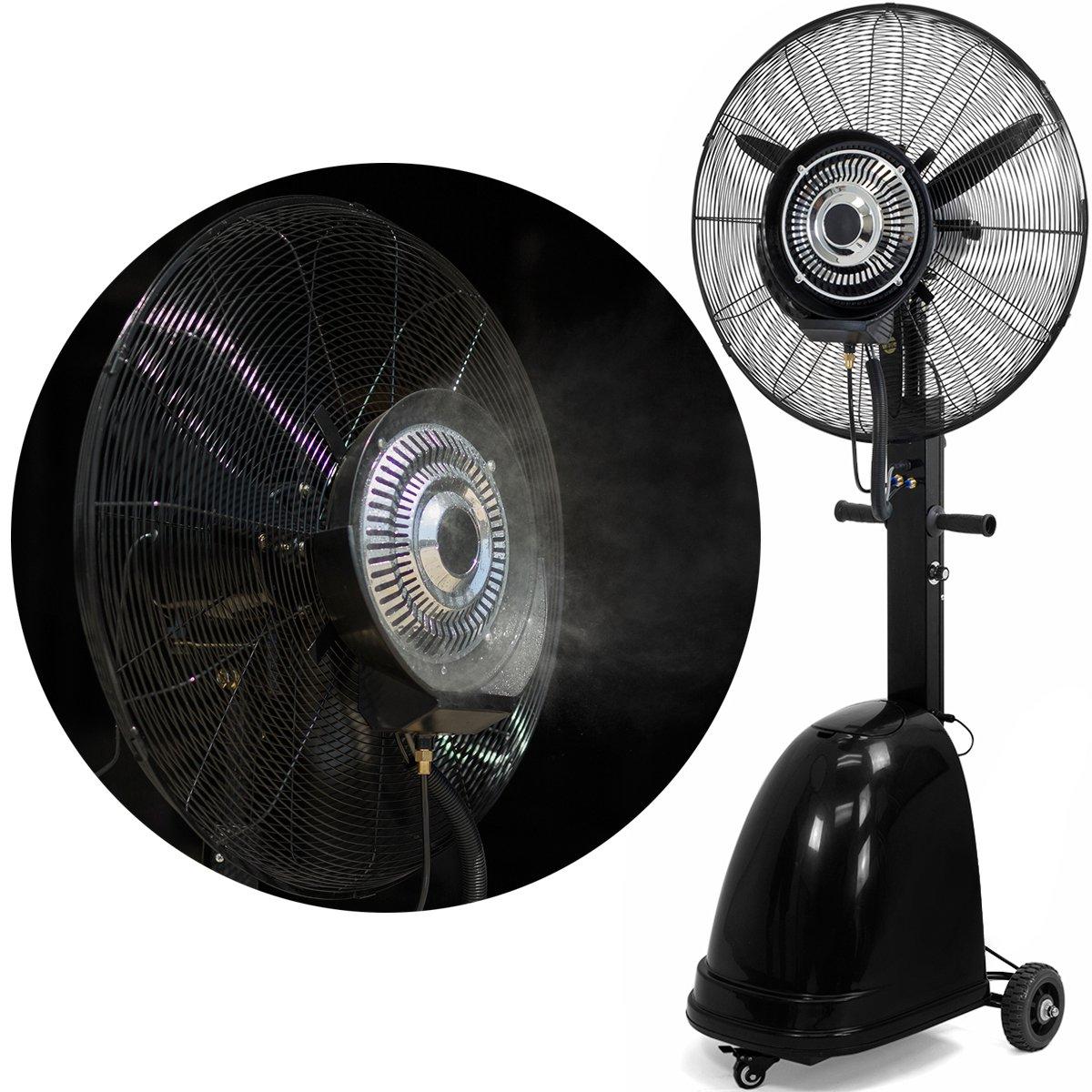 Stark High Power Misting Fan Metal 26'' Oscillating Mist Fan Cooling Warehouse Indoor/Outdoor Adjustable Speed Water Tank w/Wheel by Stark USA