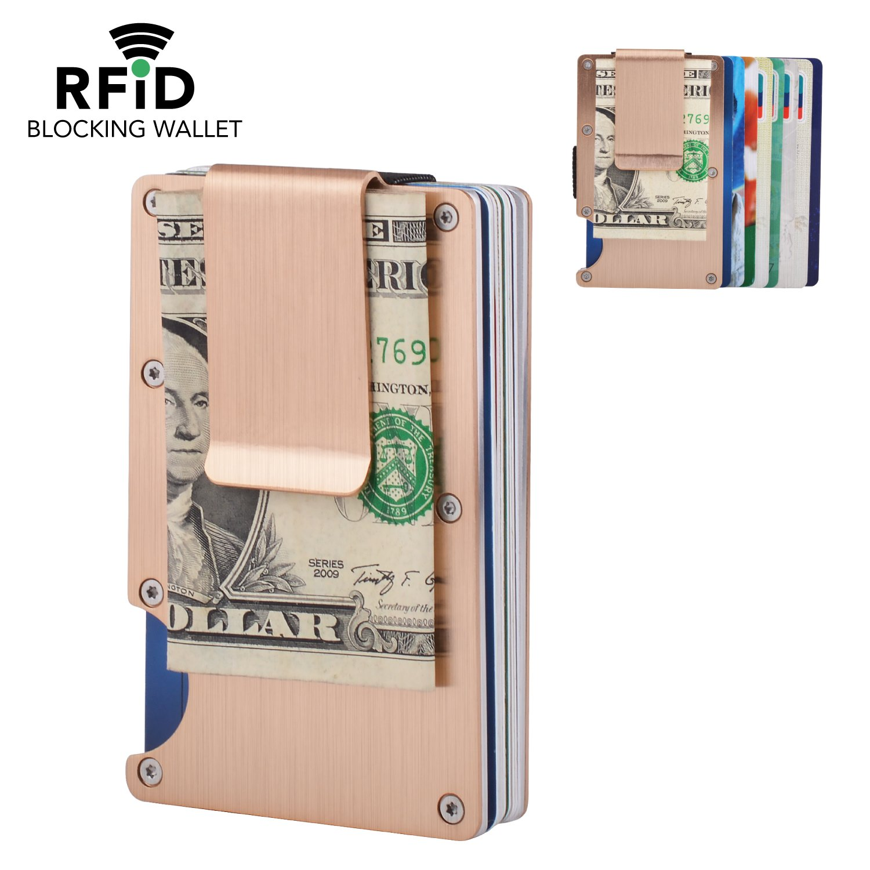 MaxGear RFID Credit Card Holder for Women Credit Card Wallet Aluminum Money Clip Slim Metal Credit Card Holder Protector Rose Gold