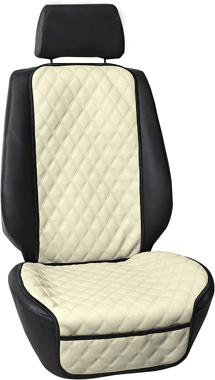 FH Group FH1018 Faux Leather Seat Protectors (Beige) One Seat Cushion with Gift - Universal Fit for Cars, Trucks & SUVs