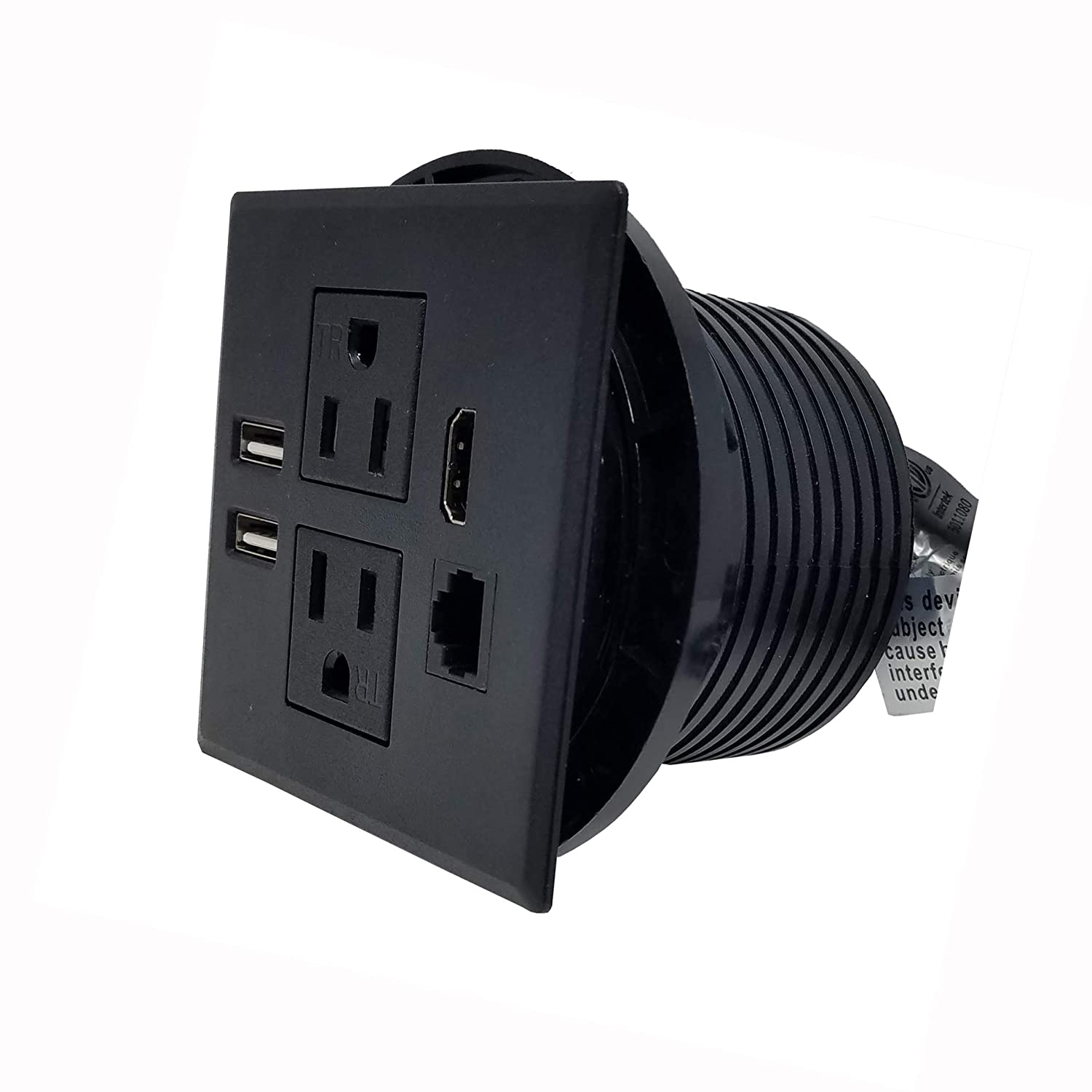 "Desktop Conference Room Power Grommet Outlet, FITS 3 1/8"" - 3 1/4"" 2 (TR) AC Outlets, 2 USB Charging Ports, 1 CAT 6, 1 HDMI, ETL Listed (BLACK - 3.15"" - 3.25"" - DC-8589)"