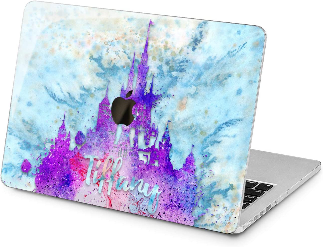 "Cavka Hard Shell Case for Apple MacBook Pro 13"" 2019 15"" 2018 Air 13"" 2020 Retina 2015 Mac 11"" Mac 12"" Monogram Abstract Design Print New Cover Protective Unique Laptop Purple Plastic Initial Castle"