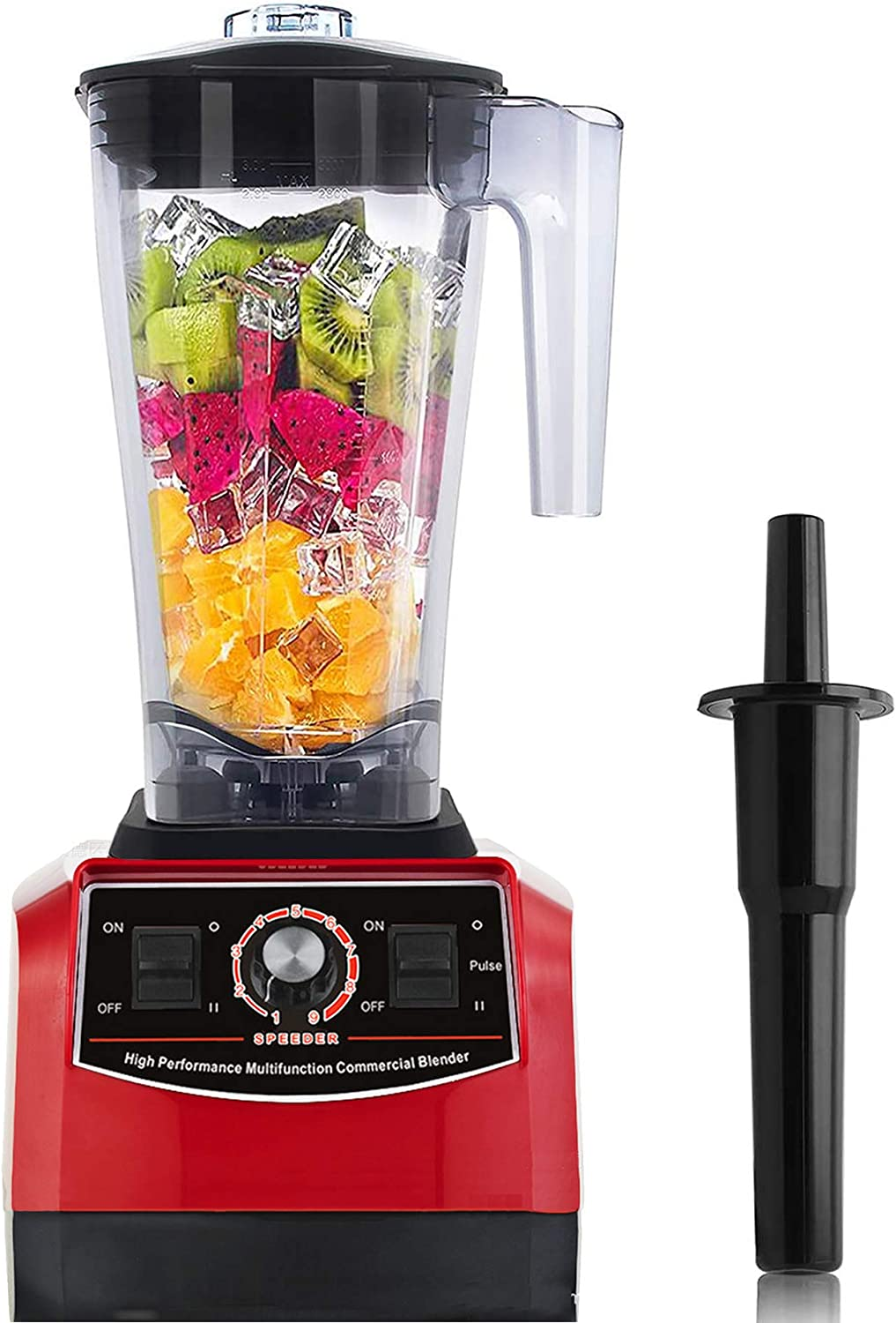 Huanyu Professional Countertop Blender 100 oz Variable Speed & Pulse Feature for Fruit Smoothie Ice Soy Milk Hot Soups Frozen Desserts Crush Mix Home Commercial 2200W G5500 (110V US Plug, Red)