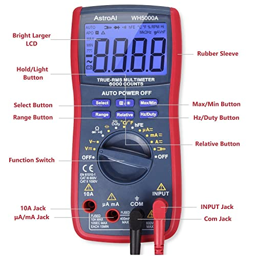 A slightly more advanced option is the AstroAI Digital Multimeter.