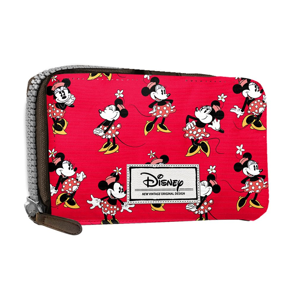 DISNEY Minnie Cheerful - Women's Wallet with Wrist Handle - Zip Lock and Metallic Button - Color Red