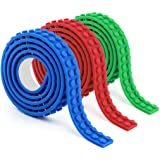 Block Tape for Lego Bricks Self Adhesive Block Tape Rolls Perfect for Kids of All Ages - 3 Rolls, 9.8 Ft, Blue/Green/Red