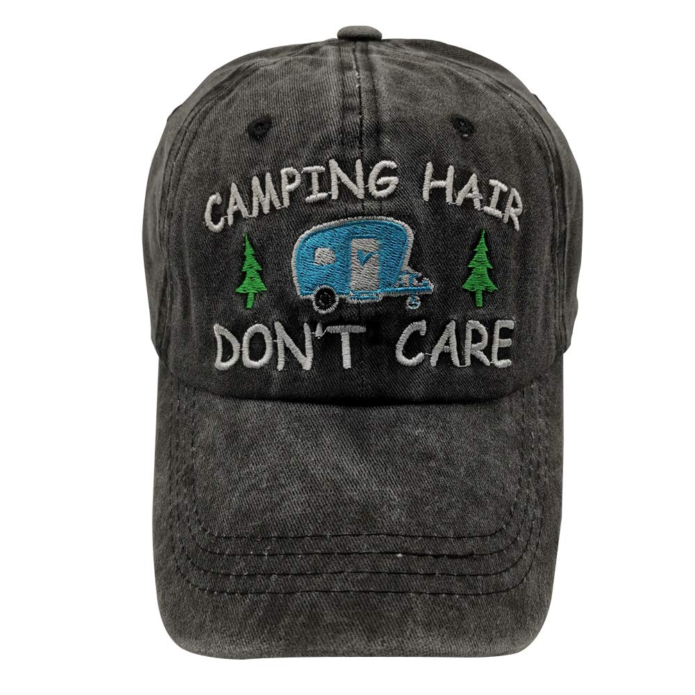 Waldeal Camping Hair Don t Care Distressed Vintage Embroidered Adjustable Dad Hat Baseball Cap