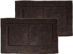 mDesign Soft 100% Cotton Luxury Hotel-Style Rectangular Spa Mat Rug, Plush Water Absorbent, Decorative Border - for Bathroom Vanity, Bathtub/Shower - Machine Washable - 2 Pack - Chocolate Brown