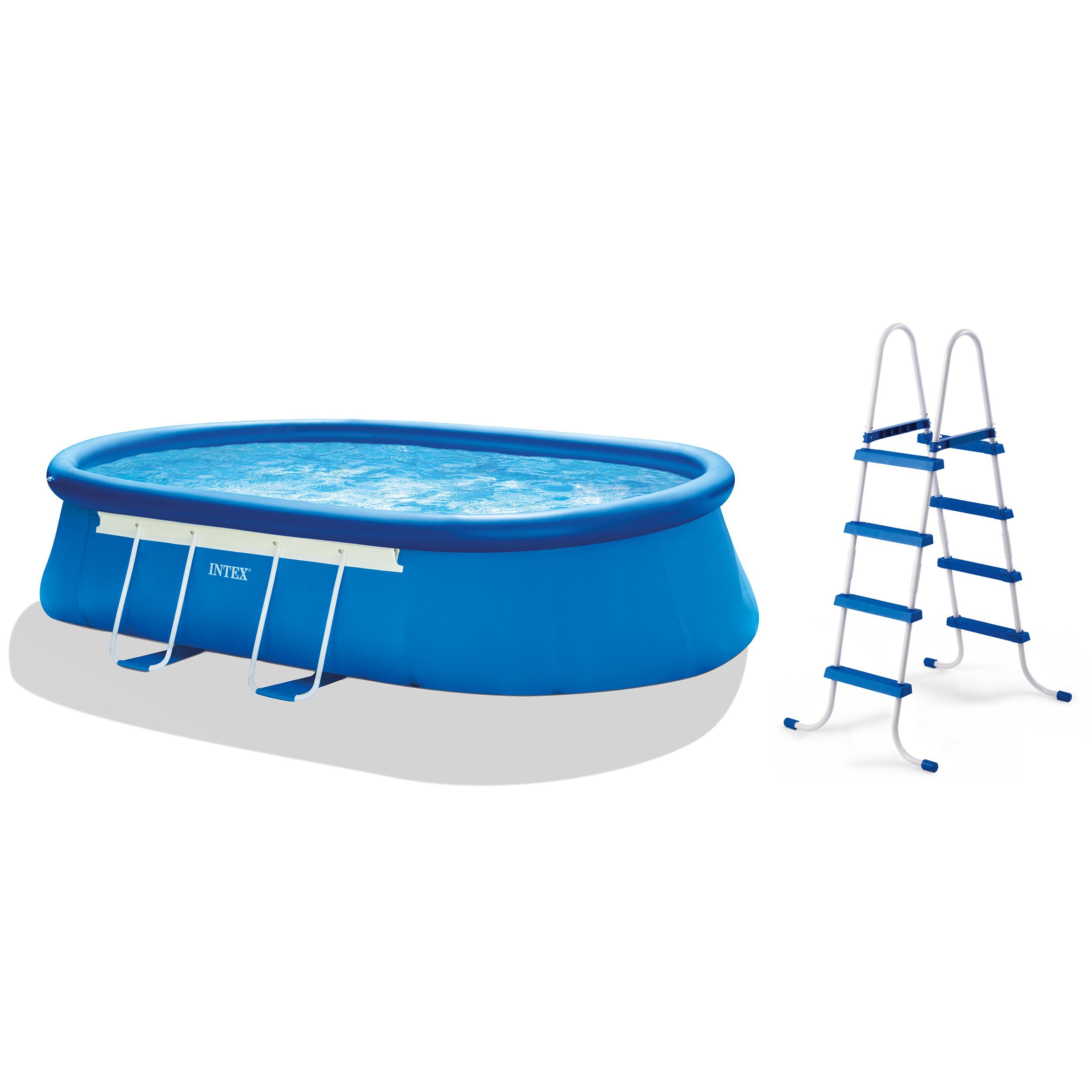 Intex 18ft X 10ft X 42in Oval Frame Pool Set with Filter Pump, Ladder, Ground Cloth & Pool Cover by Intex