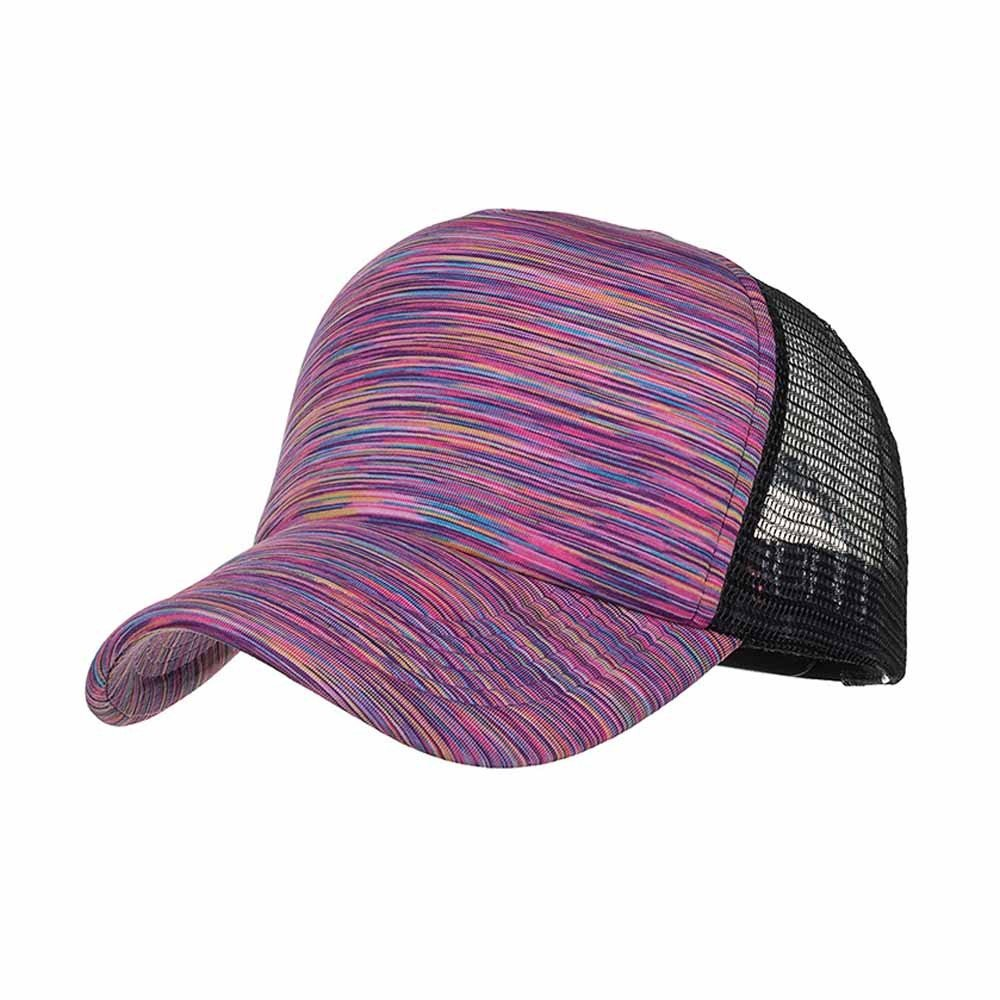 Sunyastor Summer Cap Camouflage Mesh Hats for Men Women Casual Hats Hip Hop High Bun Ponytail Adjustable Baseball Caps (A Purple, One Size)
