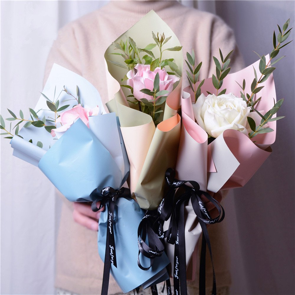 Pink Double Color Flower Wrapping Paper Waterproof Gift Packaging Florist Bouquet Material 20 Sheets 23.623.6 Inch