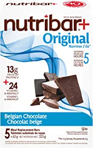 Nutribar Original Nutribar+ Original Meal Replacement Bars, Belgian Chocolate, 5 Bars 5 count