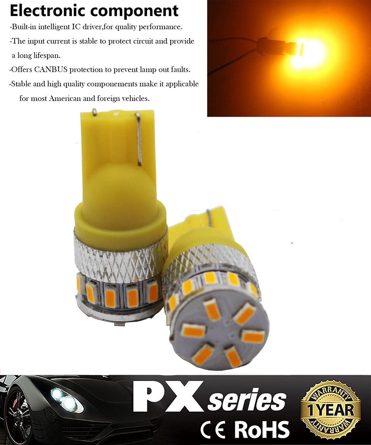 4-Pack T10 194 168 2825 501 Extremely Bright 240Lums Amber//Yellow 5th Generation Non-Polarity LED Light 12V-24V 18SMD 3014 Car Replacement For Map Dome License Plate Dashboard Side Marker Light